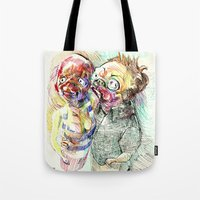 pugs Tote Bags featuring Summer pugs by Stin