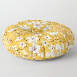 Yellow Meadow of Flowers Floor Pillow