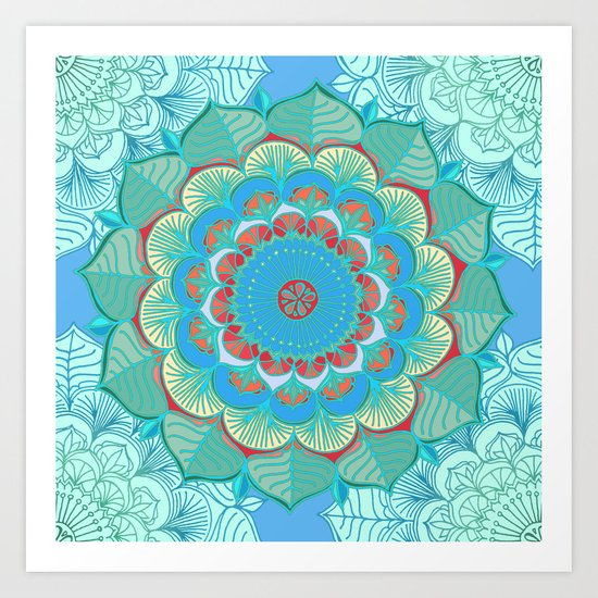 In Full Bloom - detailed floral doodle in blue, green & red Art Print