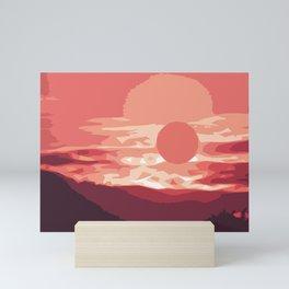 Burning sunset, splendid mountain landscape in pink shades Mini Art Print