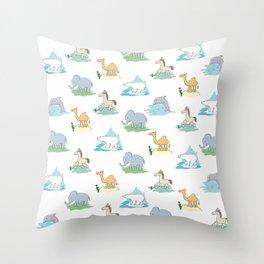 Animals pattern. Child's drawing. Cartoon Throw Pillow