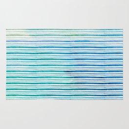 fine aqua handpainted stripes on clear white Rug