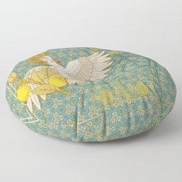 Hoopoe Parrot and Citrus Floor Pillow