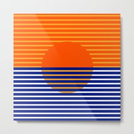 Orange Split Sun Metal Print