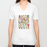 alphabet V-neck T-shirts featuring ALPHABET by Matthew Taylor Wilson