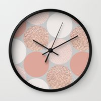 rose gold Wall Clocks featuring Rose Gold Dots by Georgiana Paraschiv