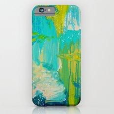 SEASIDE DREAMS - Beautiful Ocean Waves Teal Blue Turquoise Chartreuse Underwater Abstract Painting iPhone 6s Slim Case