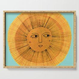 Sun Drawing Gold and Blue Serving Tray