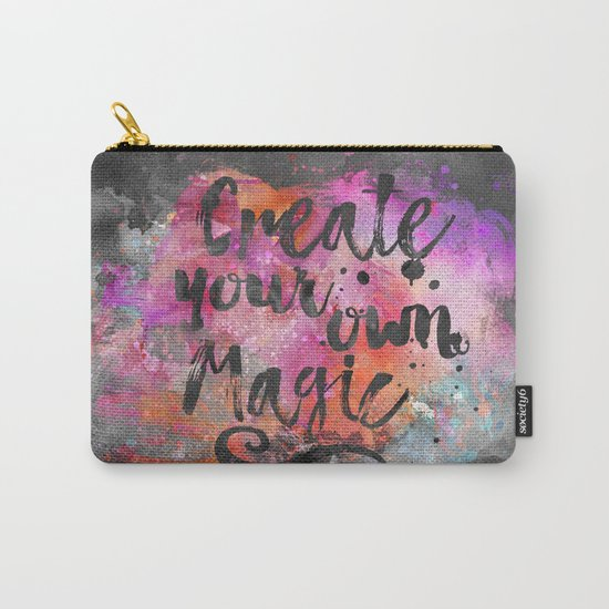 Create Magic handlettering colorful watercolor art Carry-All Pouch