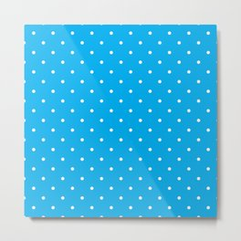 Small White Polka Dots with Blue Background Metal Print