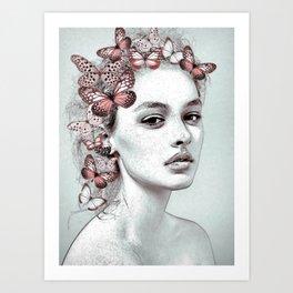 Woman with butterflies Art Print