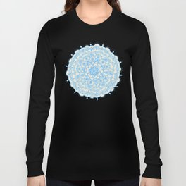 Pale Blue Pencil Pattern - hand drawn lace mandala Long Sleeve T-shirt