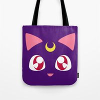 luna Tote Bags featuring Luna by discojellyfish