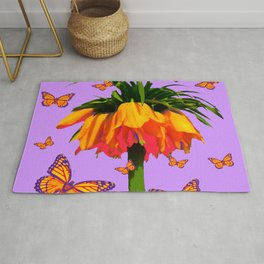 LILAC YELLOW MONARCH BUTTERFLIES CROWN IMPERIAL Rug