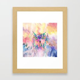 Watercolor eagle owl abstract paint Framed Art Print