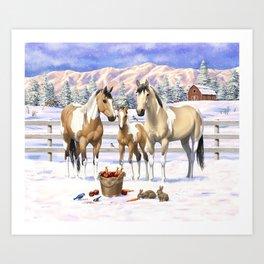 Buckskin Pinto Paint Quarter Horses In Snow Art Print