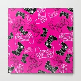 Video Games Pink Metal Print