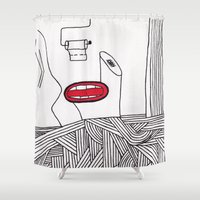 toilet Shower Curtains featuring toilet by DAMlab