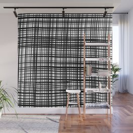 Painted Cloth Fabric Weave Texture, Monochrome Black & White Art Wall Mural