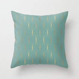 ELEGANT BLUE GOLD PATTERN v3 Throw Pillow