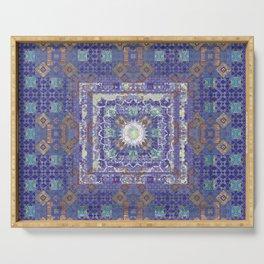 Antiqued Indigo Fractal Boho Quilt Print Serving Tray