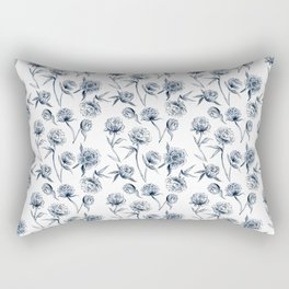 Blue Peonies Rectangular Pillow
