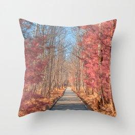 Jesup Boardwalk Trail - Tickle Me Pink Throw Pillow