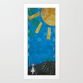 Walking through morning Art Print