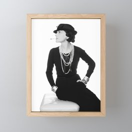 Fashion Icon, French Woman with Pearls, Black and White Art Framed Mini Art Print