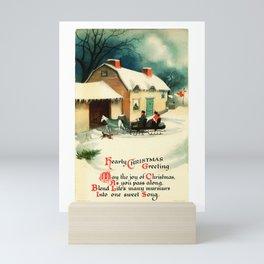 Christmas Greeting 19th Century, husband & wife in horse sleigh Mini Art Print