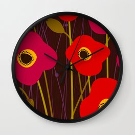 Red Poppy Flowers by Friztin Wall Clock
