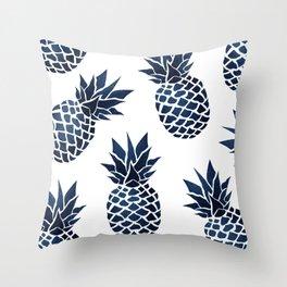 Pineapple Blue Denim Deko-Kissen