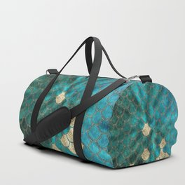 Multicolor Aqua And Gold Mermaid Scales -  Beautiful Abstract Pattern Duffle Bag