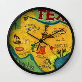 Postcard from Texas print Wall Clock
