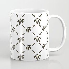 Floral Geometric Pattern Black and White Coffee Mug