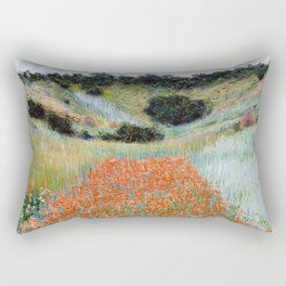 Poppy Field in a Hollow near Giverny by Claude Monet Rectangular Pillow