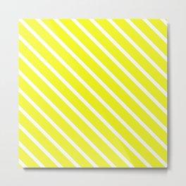 Lemon Curd Diagonal Stripes Metal Print