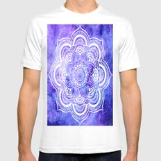 Mandala Violet Blue Galaxy Space White MEDIUM Mens Fitted Tee