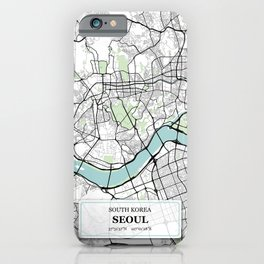 Seoul South Korea City Map with GPS Coordinates iPhone Case