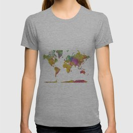 Map of the World - Watercolor 5 T-shirt