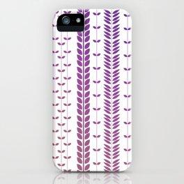 Purple Retro Leaves 2 iPhone Case