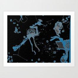 Blue Bird Lizard Art Print