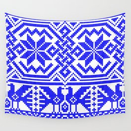 Cross-stitch - Blue Wall Tapestry