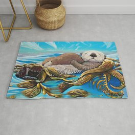 Sea Otter Mom & Pup Rug