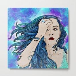 The blue hair girl Metal Print