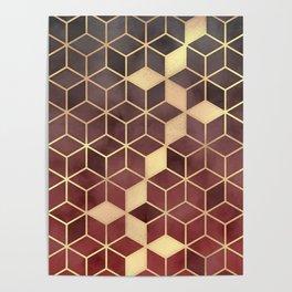 Gold Red Velvet Gradient cube Art print Poster