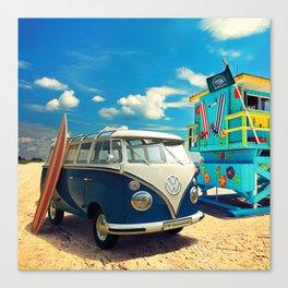 Van, cartoon — Surf, Beach Canvas Print