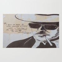 hunter s thompson Area & Throw Rugs featuring Hunter S. Thompson by Emily Storvold