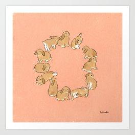 12 lop rabbits Art Print