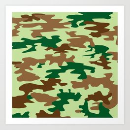 Camouflage Print Pattern - Greens & Browns Art Print
